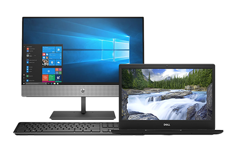 HP desktop computer and Dell Laptop